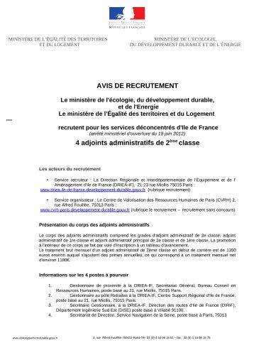 AVIS DE RECRUTEMENT 4 adjoints administratifs de 2ème ... - Driea