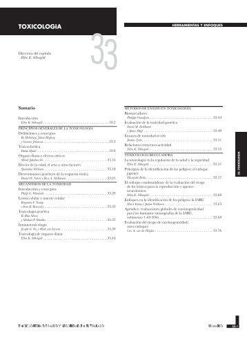 Capítulo 33. Toxicología - Instituto Nacional de Seguridad e Higiene ...