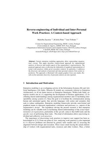Reverse-engineering of individual and inter-personal work practices