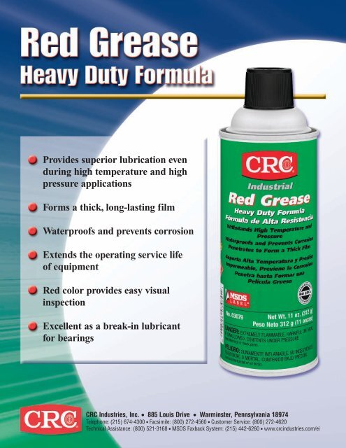 Red Grease Sell Sheet - CRC Industries