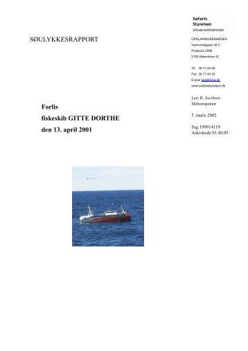 GITTE DORTHE - kollision den 13. april 2001 - Søfartsstyrelsen