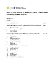 Policy on public reporting for the National Clinical Audit and ... - HQIP