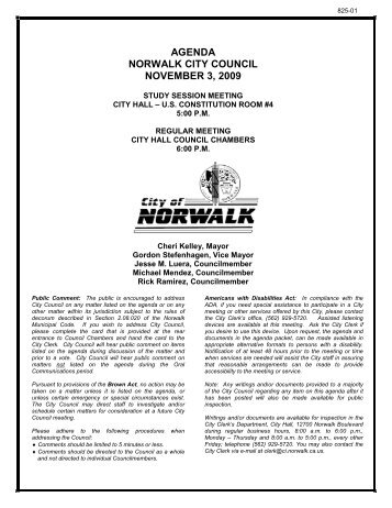 agenda norwalk city council november 3, 2009 - City of Norwalk