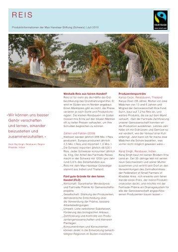Factsheet Reis - Max Havelaar Switzerland