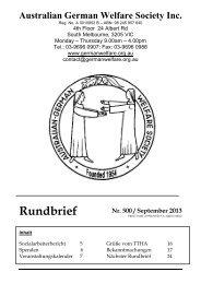 Rundbrief Nr. 500 / September 2013 - Home - Australian German ...
