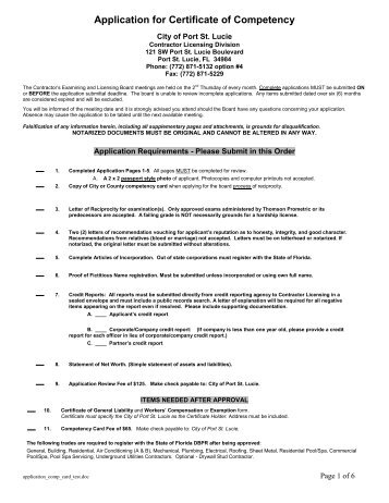 Certificate of Competency Application - City of Port St. Lucie