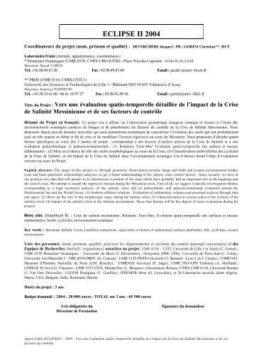 ECLIPSE II 2004 - liste des personnes ayant une page web