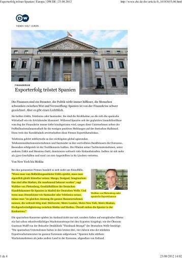 Exporterfolg tröstet Spanien | Europa | DW.DE ... - AHK Spanien