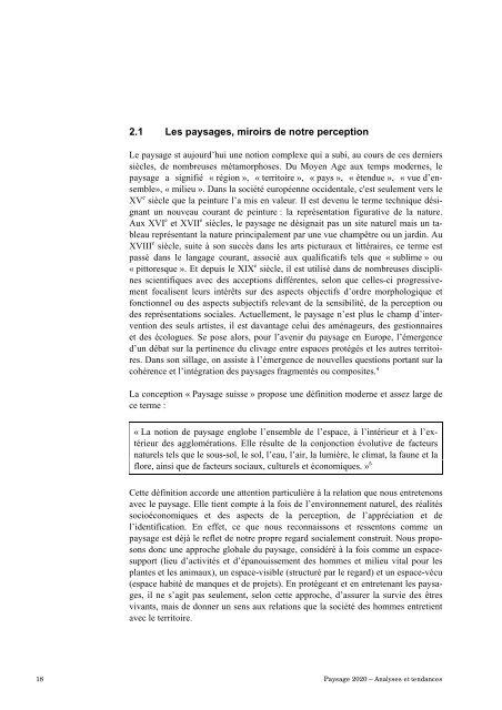 Paysage 2020. Analyse et tendances. Bases des ... - admin.ch