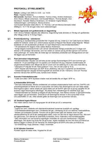 Protokoll Styrelsemöte 3 okt 2009 i Vrigstad