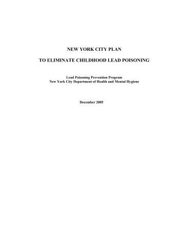 new york city plan to eliminate childhood lead poisoning - NYC.gov