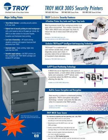 TROY MICR 3005 Security Printers - Output-options.biz