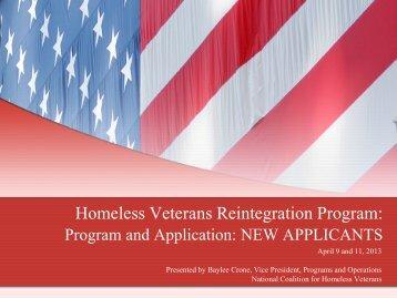 April 9 and 11, 2013 webinar - National Coalition for Homeless ...