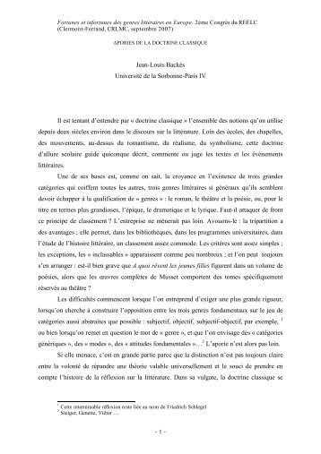 Jean-Louis Backès Université de la Sorbonne-Paris IV Il est tentant ...