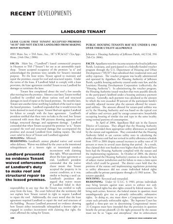 Landlord Tenant - Journal of Comsumer & Commercial Law
