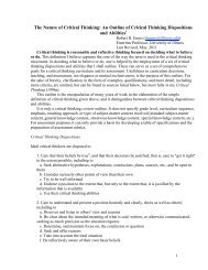 The Nature of Critical Thinking: An Outline of Critical ... - Our Faculty