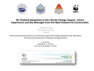 Northeast Thailand Adaptation to the Climate Change Impacts