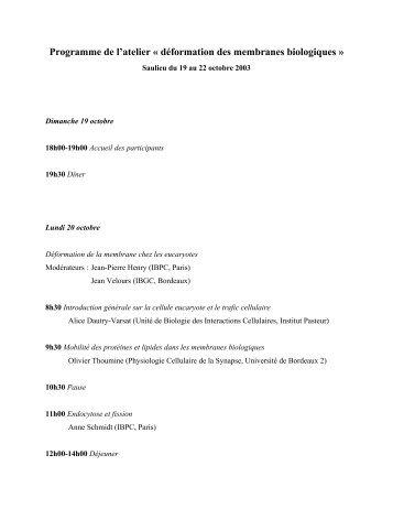 Programme de l'atelier « déformation des membranes ... - LISM