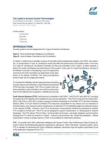 Fault Tolerant Access Control Systems PCSC