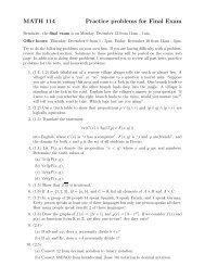 MATH 114 Practice problems for Final Exam