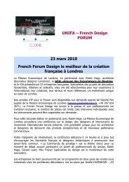 UNIFA – French Design FORUM 23 mars 2010 French Forum Design le ...