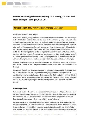 Ordentliche Delegiertenversammlung DSV Freitag, 14. Juni 2013 ...