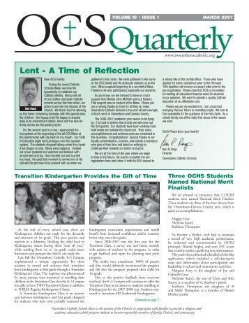 Lent - A Time of Reflection - Owensboro Catholic Schools