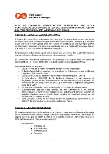 plec de clàusules administratives particulars per a la contractació ...