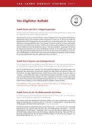 Vor-Züglicher Auftakt - 150 Jahre Rudolf Steiner 2011