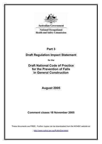 Part 3 Draft Regulation Impact Statement Draft National Code of ...