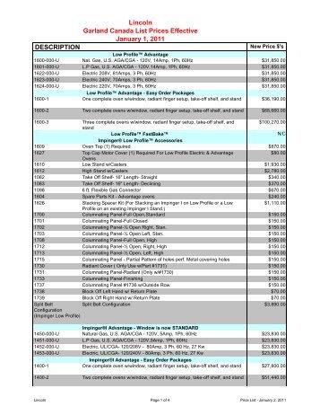 Lincoln Price List - Garland - Canada