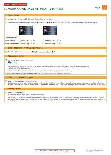 Demande de carte de crédit Orange Collect Card