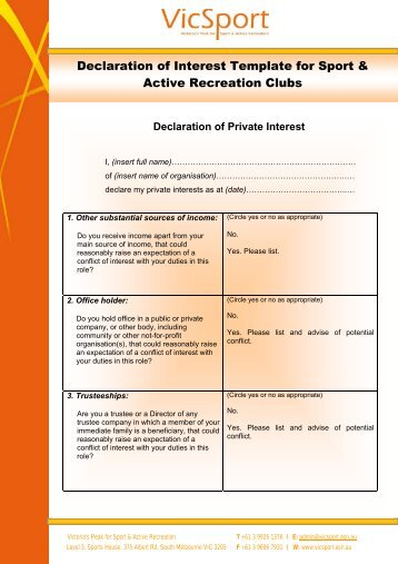 Declaration of personal interest for Conflict of interest declaration template