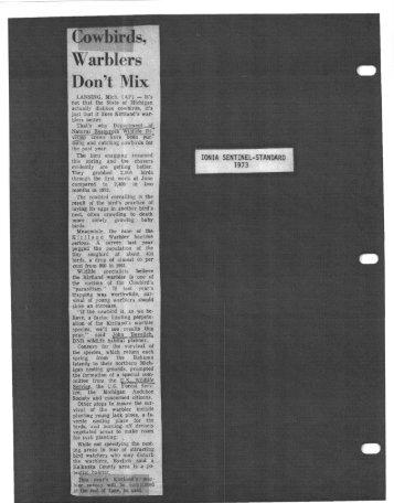 1973 Various Articles Re Cowbirds, history, migration sighting.pdf