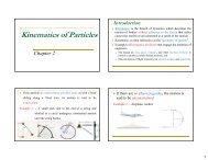 Kinematics of Particles - Yidnekachew