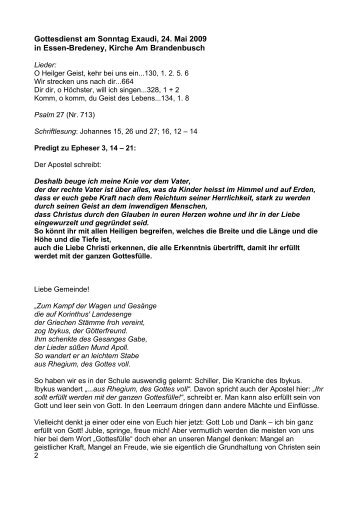 Gottesdienst am Sonntag Exaudi, 24. Mai 2009 in Essen ... - Johannes