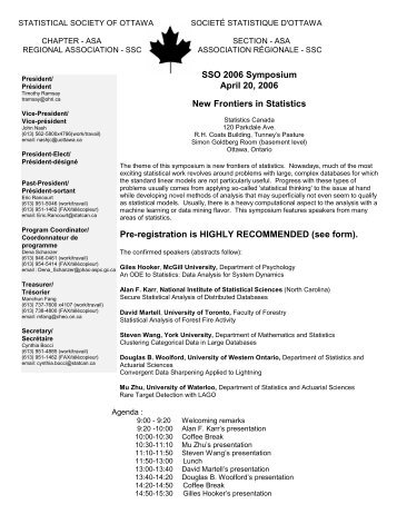 SSO 2006 Symposium April 20, 2006 New Frontiers in Statistics Pre ...