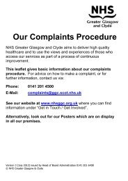 Complaints Leaflet - NHS Greater Glasgow and Clyde