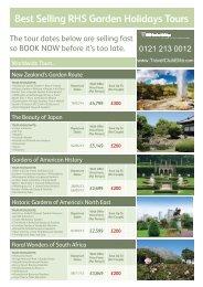 Best Selling RHS Garden Holidays Tours - Travel Club Elite