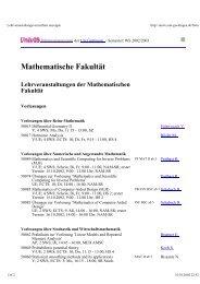 Mathematische Fakultät Lehrveranstaltungen der Mathematischen ...