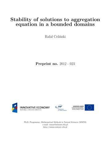 Stability of solutions to aggregation equation in a bounded domains