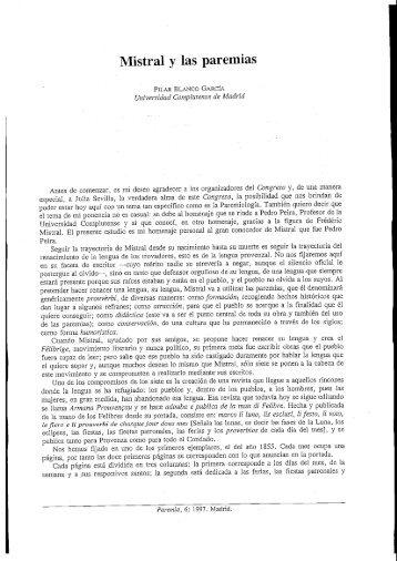 Mistral y las paremias - Paremia.org