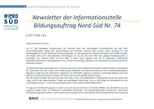 NEWSLETTER Bildungsauftrag Nord-Süd Nr. 74 | Juni 2013 - World ...
