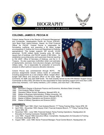 "Col James ""Pesh"" Peccia, Pacific Air Forces - ASMC Sub Chapters"