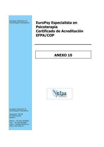 EuroPsy Especialista en Psicoterapia Certificado de Acreditación ...