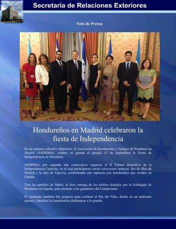 Hondureños en Madrid celebraron la fiesta de Independencia