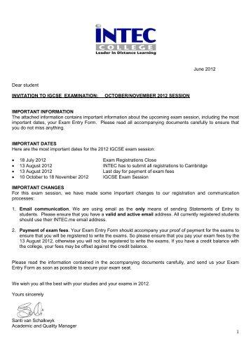 1 June 2012 Dear student INVITATION TO IGCSE ... - INTEC College