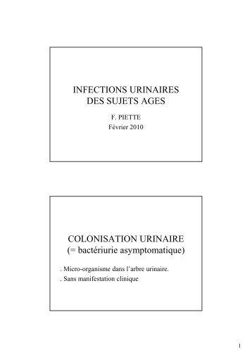 Infections Urinaires F PIETTE - longue vie et autonomie (HEGP)