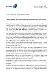 Masan Group và HC Starck thành lập Công ty TNHH Tinh luyện ...