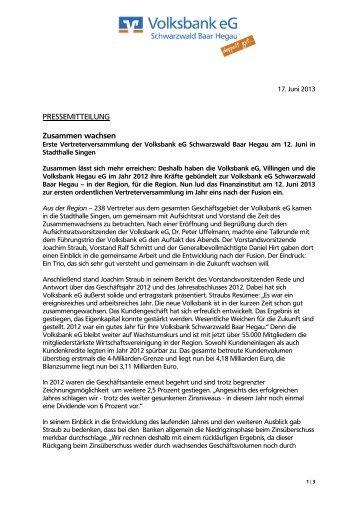 PRESSEMITTEILUNG Zusammen wachsen - Volksbank eG